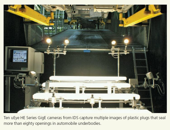 uEye HE Series GigE cameras from IDS capture images of plastic plugs for automated vehicle part inspection