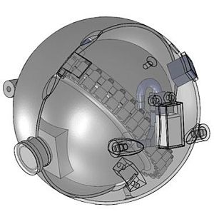 A spherical robot equipped with cameras could navigate underground pipes of a nuclear reactor