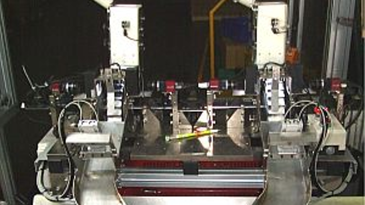Automated machine-vision system tests airbag inflators