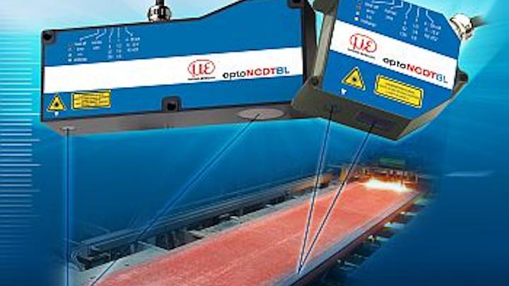 Blue-laser triangulation sensor measures hot metals