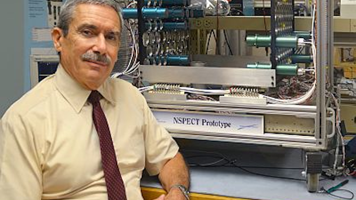 James Ryan beside the Portable Neutron Spectroscope (NSPECT). The instrument was conceived, designed, and tested to image and measure sources of neutron radiation. Photo by Kristi Donahue, UNH-EOS