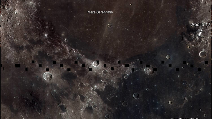 Image taken by the Lunar Reconnaissance Orbiter Camera (LROC) Wide Angle Camera (WAC), which is imaging the surface of the Moon at seven different color bands