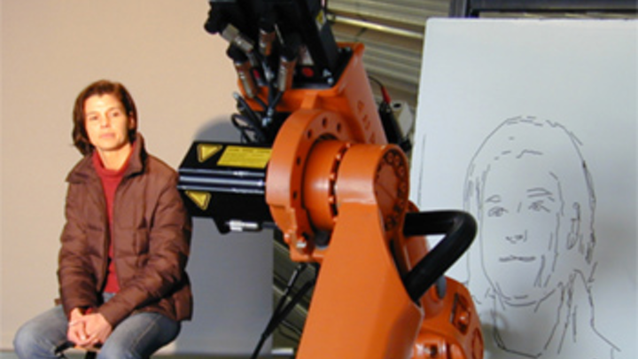 An industrial robot has been transformed into an artist capable of producing an authentic rendering of a person's face.