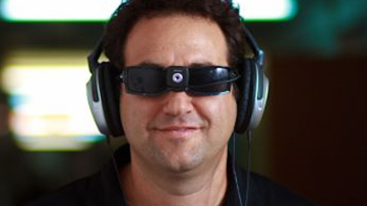 A vision-based sensory substitution device (SSD) provides visual information to the blind via their existing senses.