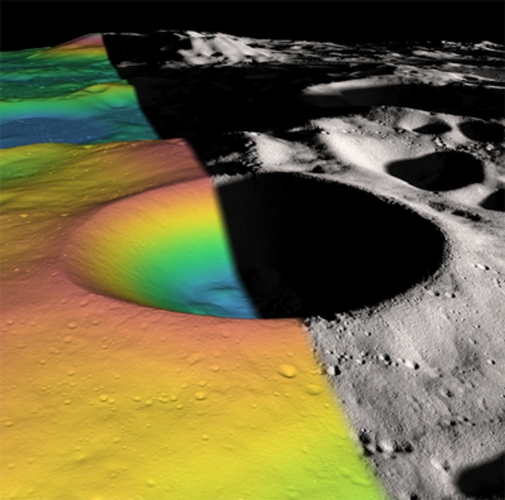 LOLA finds ice in lunar crater
