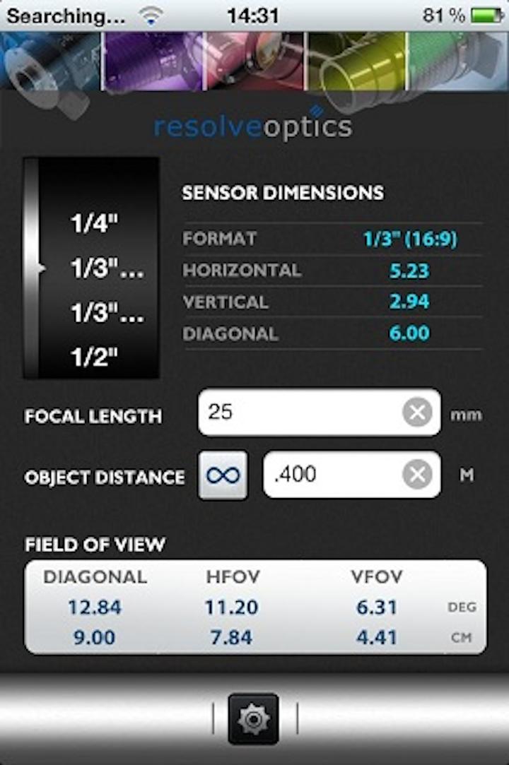 Resolve Optics' app simplifies lens FOV calculations