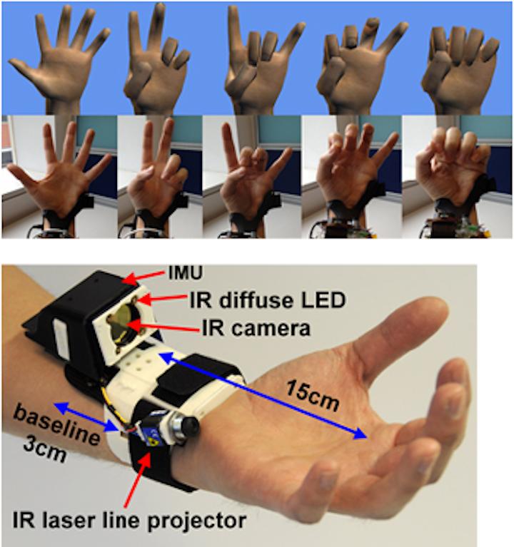 Sensor tracks 3-D movement of the hand