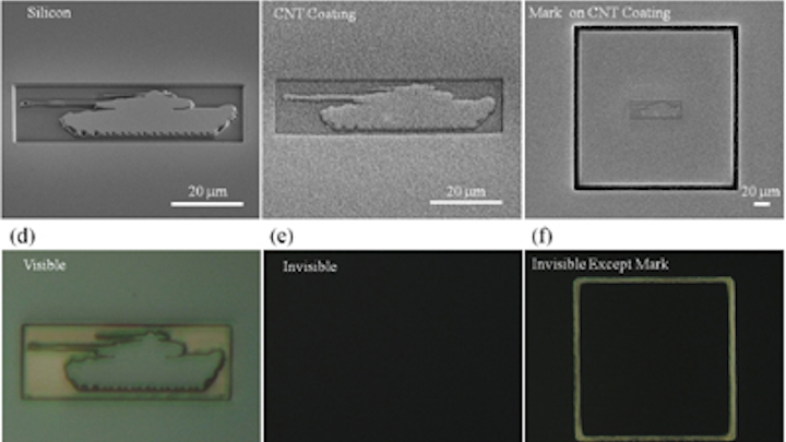Carbon coating conceals 3-D objects