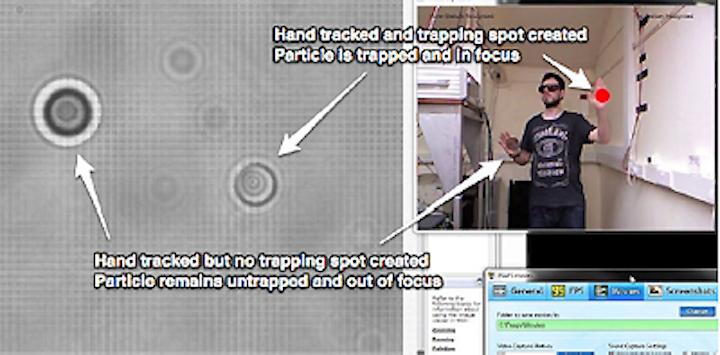 Xbox Kinect controls laser tweezers