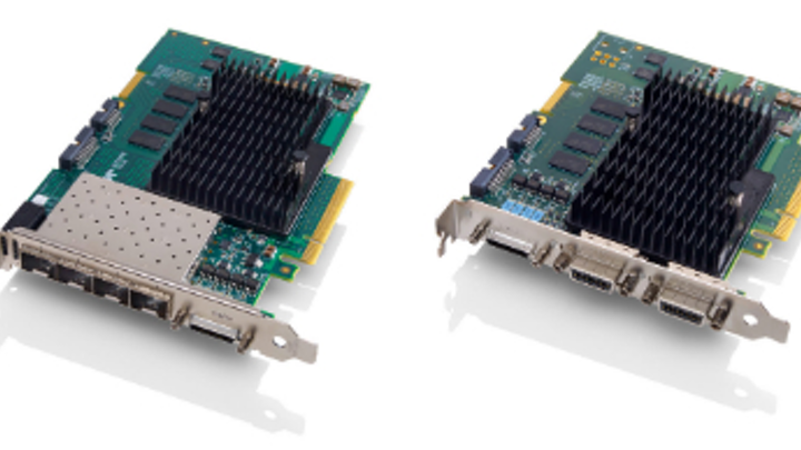 A picture of two hardware boards with circuity on the top and silver plug interfaces on the front, the Xtium2 frame grabber boards.