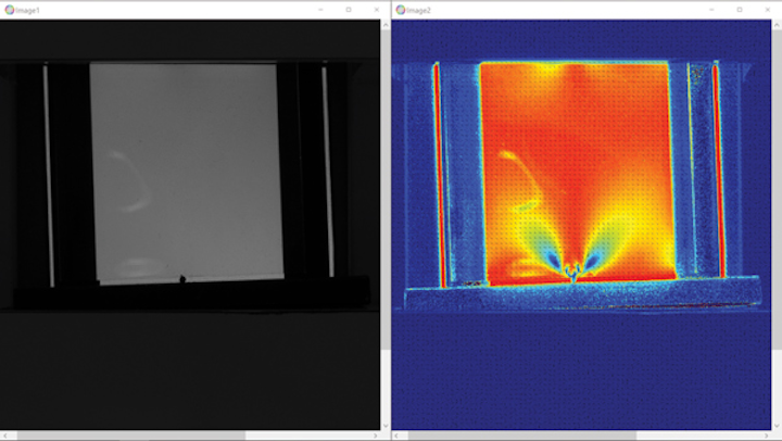 The output comparing averaged (b/w non-polarized) image and a heat map image, calculated using a phase retardation correlated to stress applied to the PET block. Note the stress clearly shown in blue.